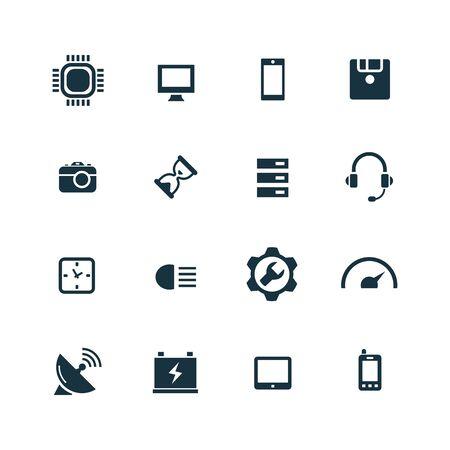 technology icons set on white background