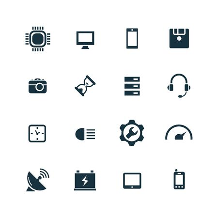 technology icons set on white background