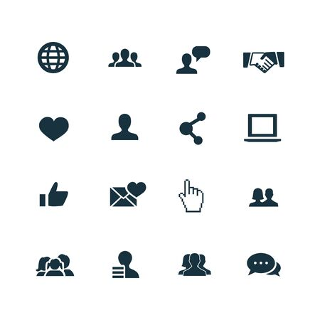 social media icons set on white background