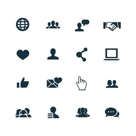 social media icons set on white background