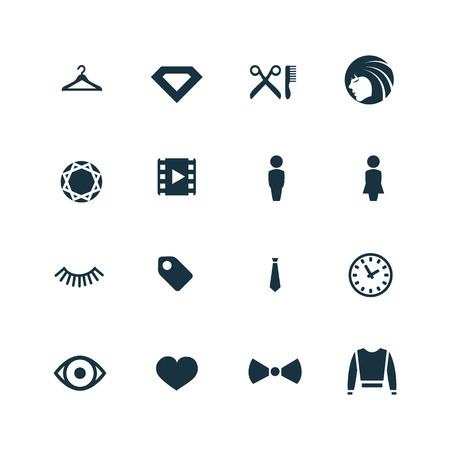 black diamond: fashion icons set on white background