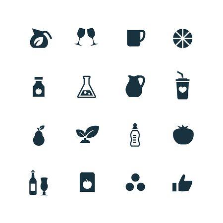 vaso de jugo: bebidas iconos conjunto sobre fondo blanco Vectores
