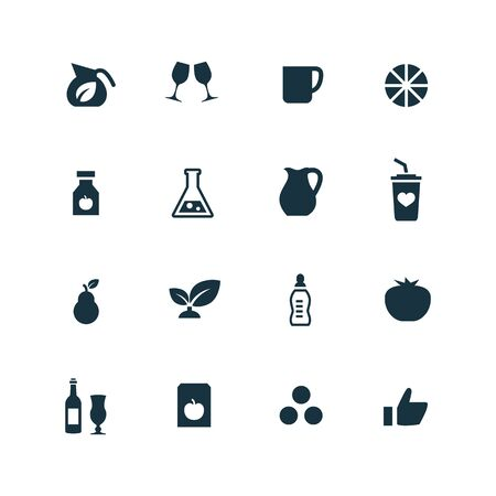 juice: drinks icons set on white background