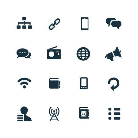 comunicación: iconos de la comunicación establecidos en el fondo blanco