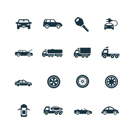 auto pictogrammen instellen op een witte achtergrond Stock Illustratie