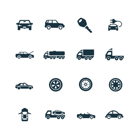car icons set on white background 向量圖像