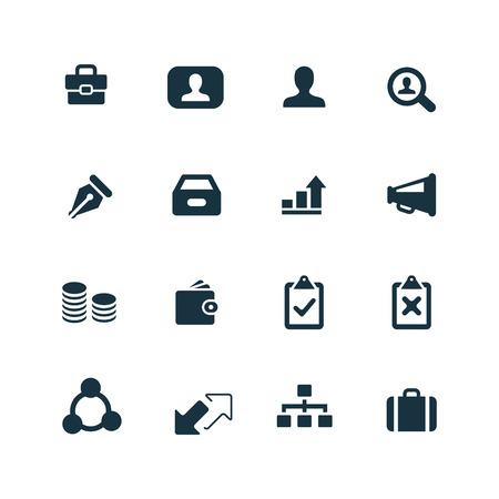 Business icons set on white background