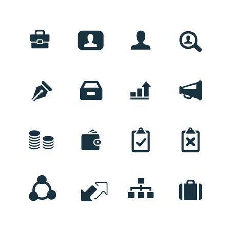 Zakelijke pictogrammen instellen op een witte achtergrond