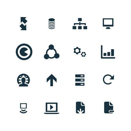 analyze data: big data, database icons set on white background