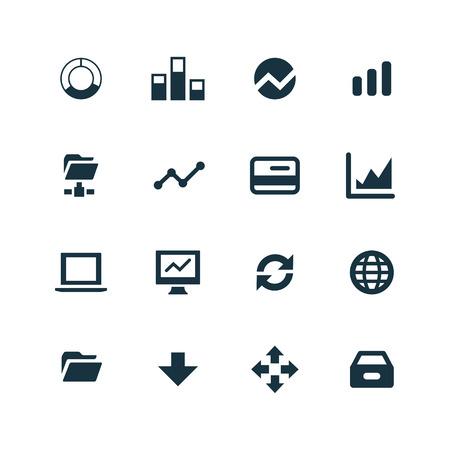 big data, database icons set on white background