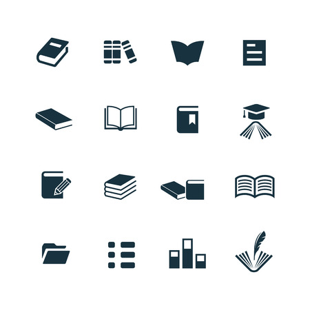 libraries: books icons set on white background