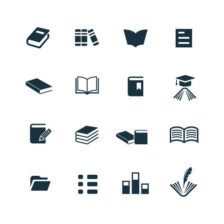 libro abierto: iconos libros establecidos en el fondo blanco Vectores