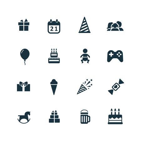 compleanno: birthday icons set su sfondo bianco