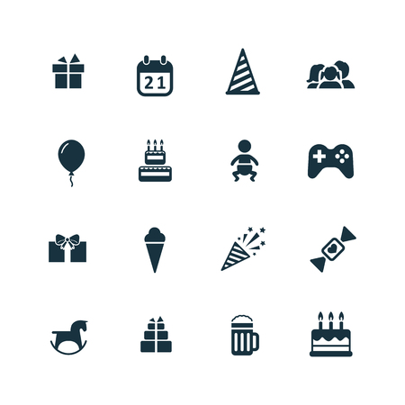 urodziny: ikony urodziny ustawić na białym tle