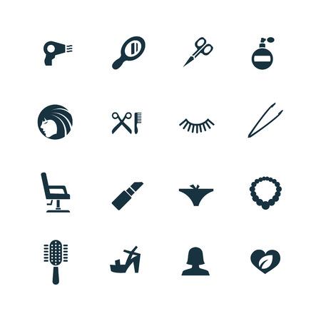 tinte de cabello: iconos salón de belleza establecidos en el fondo blanco