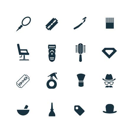 secador de pelo: iconos barber�a establecidos en el fondo blanco Vectores