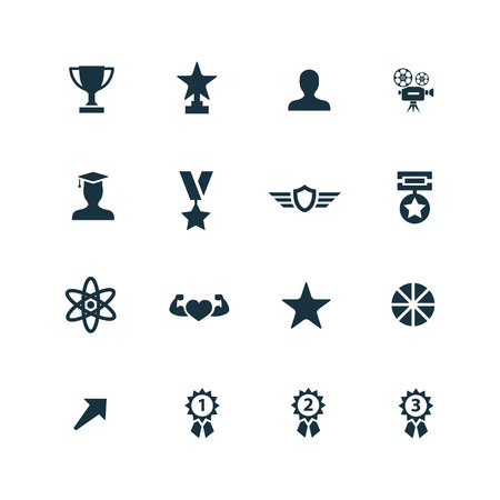 award icons set on white background  イラスト・ベクター素材