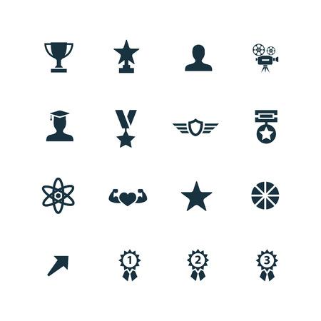 award icons set on white background Vectores