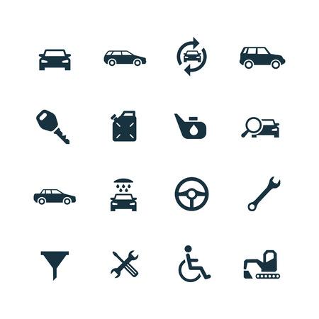 auto icons set on white background 向量圖像