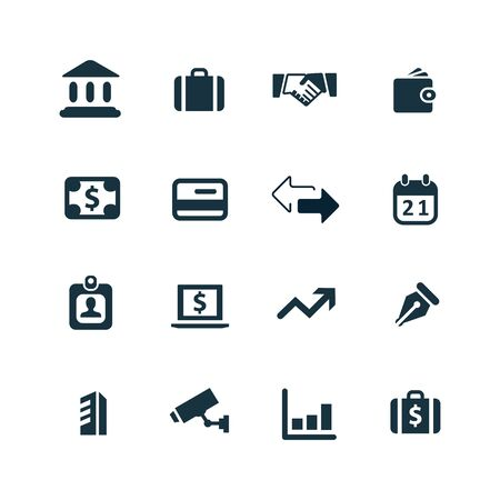 bank card: bank icons set on white background