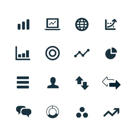 research: set of analytics, research icons on white background