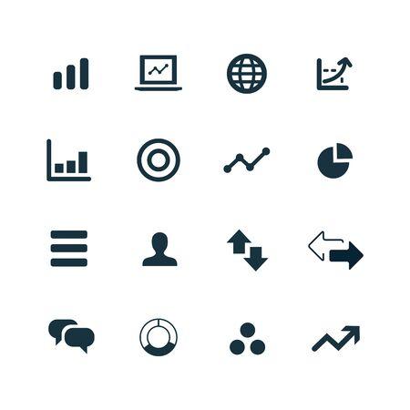 set van analytics, onderzoek pictogrammen op een witte achtergrond
