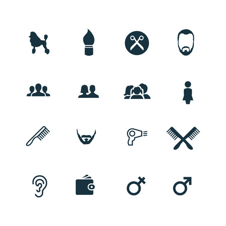 set of barbershop icons on white background Иллюстрация