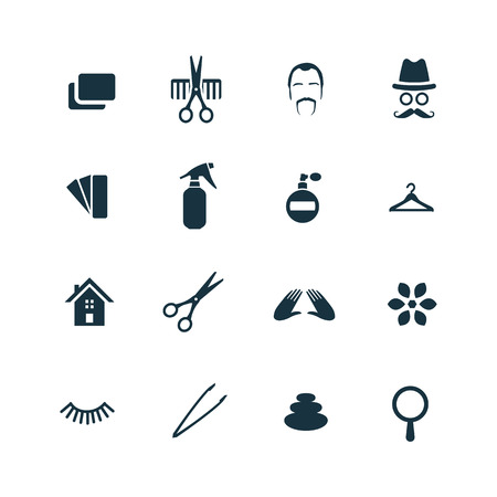 drier: barbershop icons set on white background