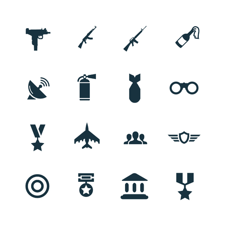 army: set of army icons on white background