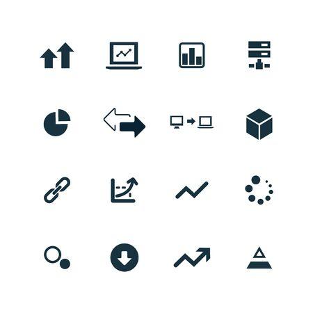 risk: big data, database icons set on white background