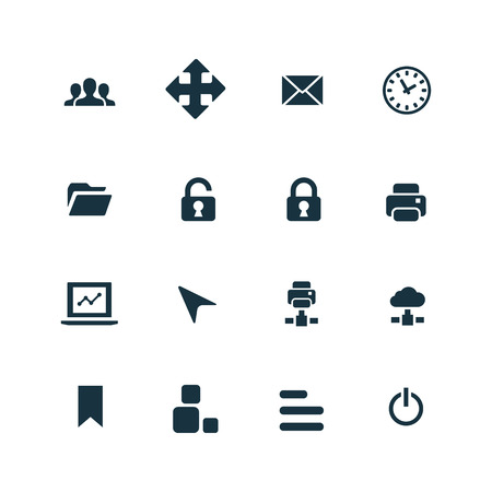 set of app icons on white background 向量圖像