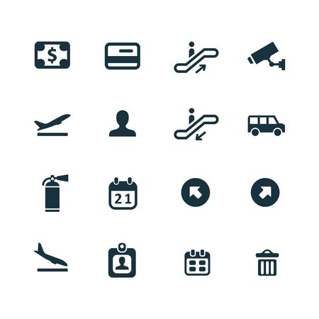 set going: set of airport icons on white background