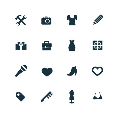 designer bag: set of accessories icons on white background