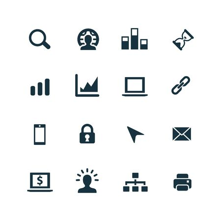 tech support: development, soft icons set on white background