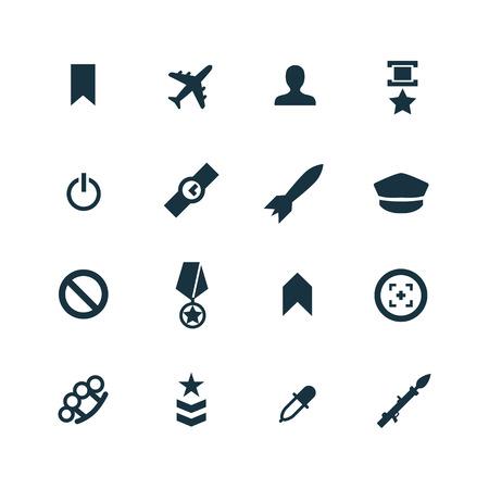 atomic bomb: set of army icons on white background