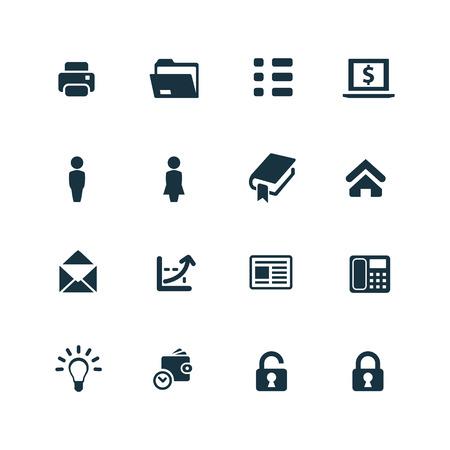 real estate business: company icons set on white background Illustration