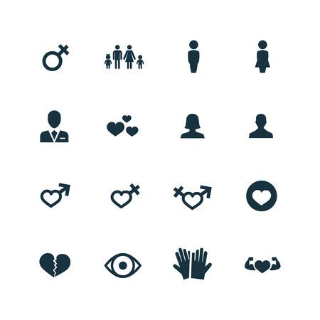 hetero: couple, love icons set on white background
