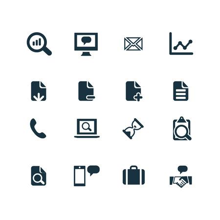 investigando: conjunto de análisis, los iconos de investigación sobre fondo blanco Vectores