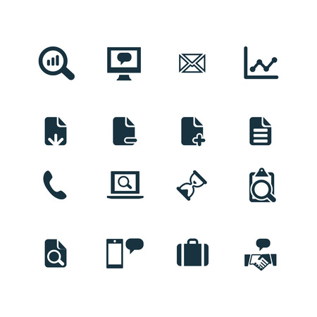 set of analytics, research icons on white background