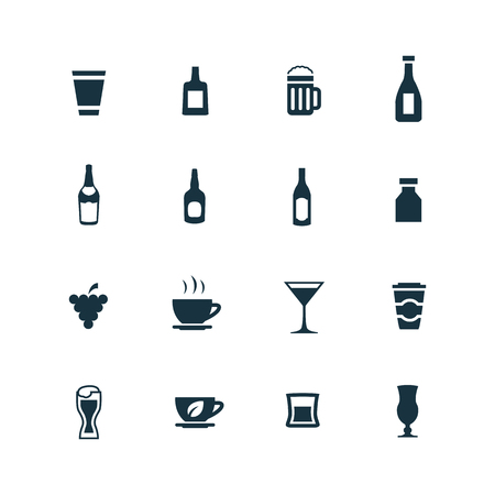 alcohol: drinks icons set on white background
