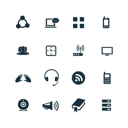 communication icons: communication icons set on white background