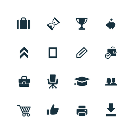 goal: startup icons set on white background Illustration