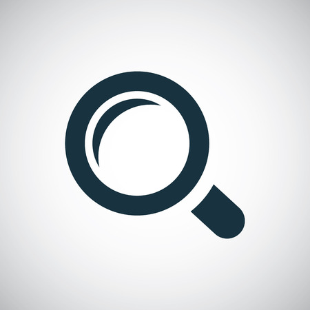 magnifier icon, isolated, black on the white background. Vector