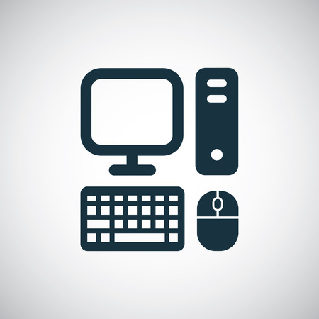 computer icon, isolated, black on the white background. Vector Illustration