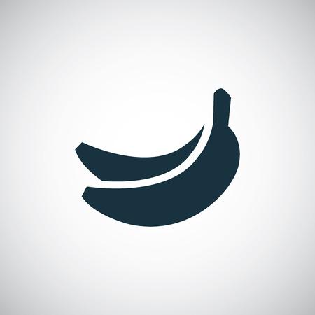 banane: banane ic�ne, isol�, noir sur fond blanc. Vecteur Illustration
