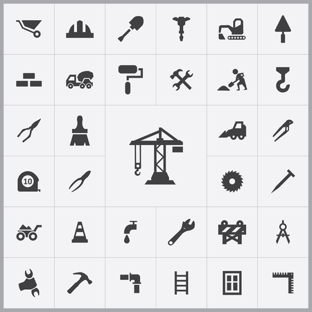 construction icons universal set for web and mobile Illustration
