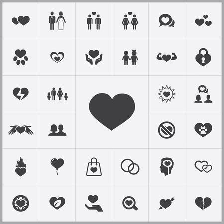 universal love: amor iconos conjunto universal para web y móviles