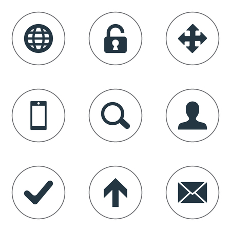 maximize: Set Of 9 Simple Practice Icons. Can Be Found Such Elements As Arrows, Check, Open Padlock And Other.
