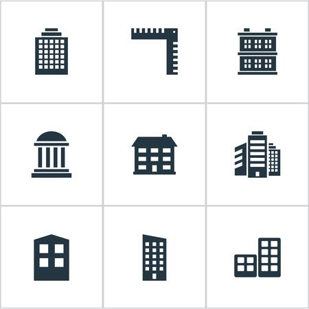 Set van 9 eenvoudige bouwpictogrammen. Elementen zoals lengte, opbouw, kantoren en andere zijn te vinden.