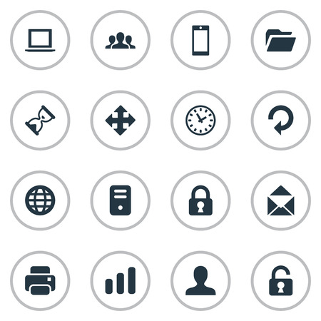 resize: Set Of 16 Simple Apps Icons. Can Be Found Such Elements As User, Arrows, Computer Case And Other.